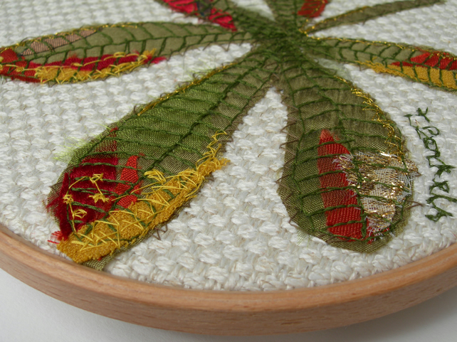 Appliqued and Embroidered Horse-Chestnut Leaf