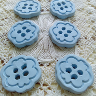 6 light blue polymer clay buttons