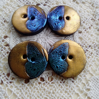 4 copper and blue polymer clay buttons, butterfly buttons, round buttons