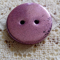 Candy pink polymer clay round button