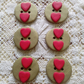 6 round gold red heart polymer clay buttons