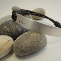 Silver and leather secret message mans personalised bracelet