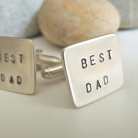 Personalised custom made square silver cuff links