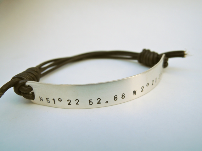 Custom made silver and leather man's latitude longitude bracelet