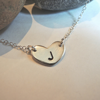 Tiny heart initial charm necklace