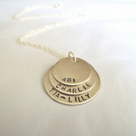 Custom made, personalised triple name necklace