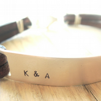 Mens personalised recycled silver and leather bracelet - secret message bracelet