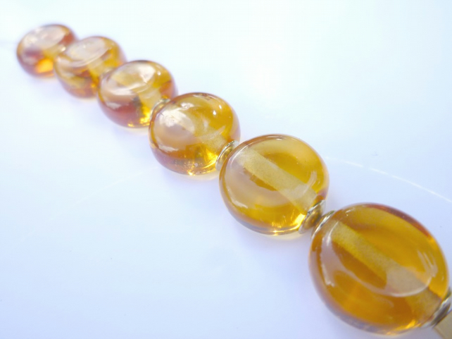 Amber Lampwork Glass Coin Beads