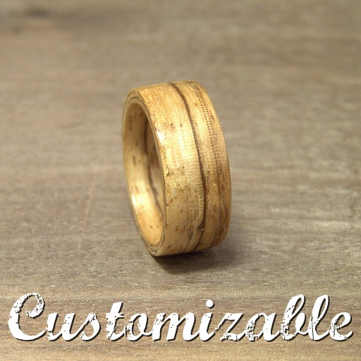 Bent wood wooden ring in Zebrano - Customizable