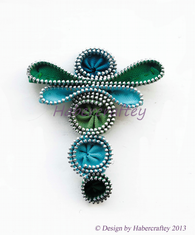 Zipper Dragonfly - brooch, hairclip, keyring  or bag charm. handmade zip craft