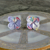 Lilac Origami Flower Stud Earrings