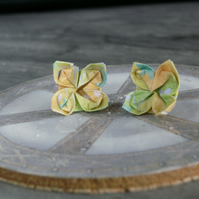Green Origami Flower Earrings