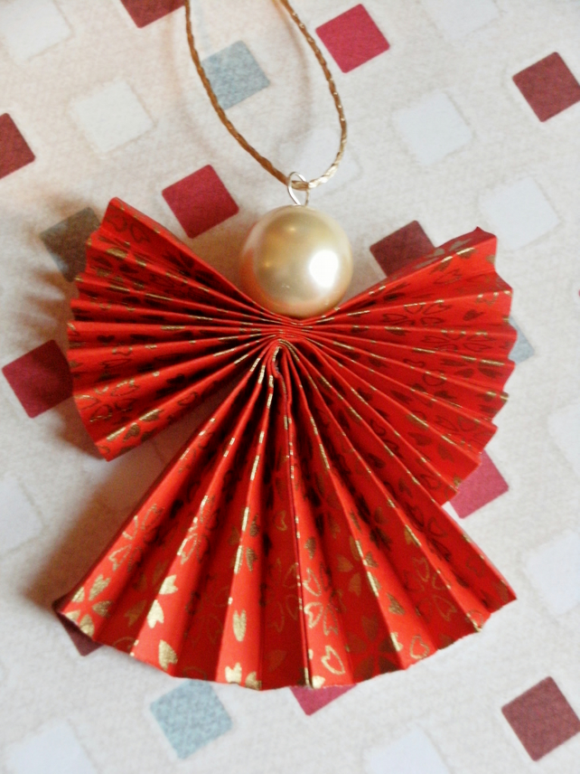 Origami christmas angel decoration in red and gold folksy for Angel christmas tree decoration