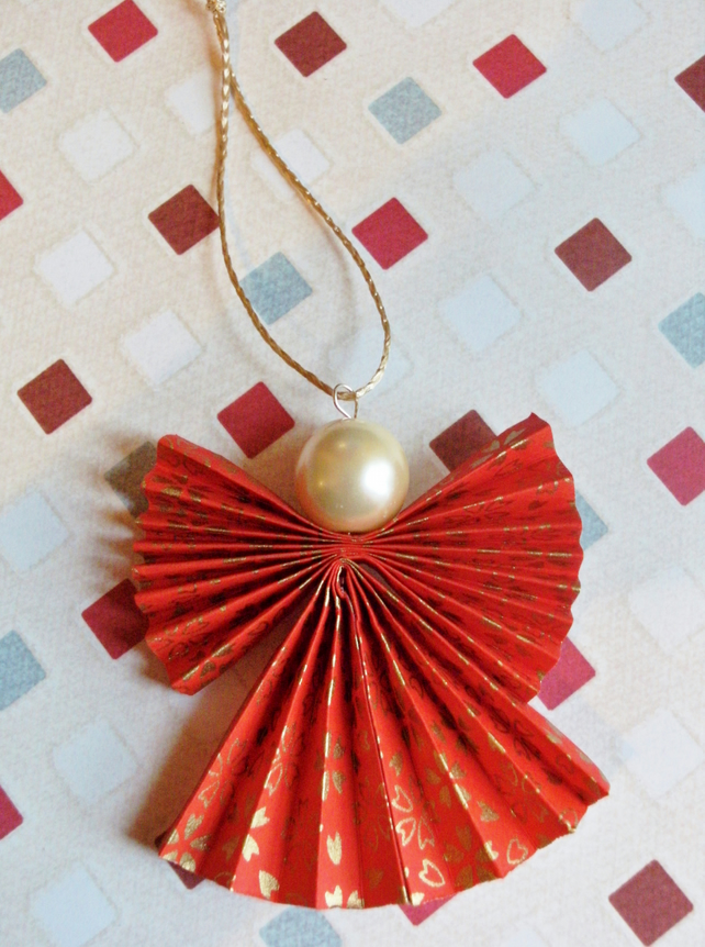 Origami Christmas Angel Decorations 5 In Red Folksy