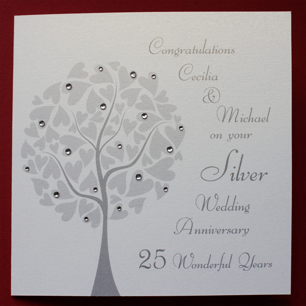 Personalised SILVER Wedding Anniversary Card - Folksy
