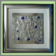 Stained glass - Fused.  Abstract picture in silver-coloured frame