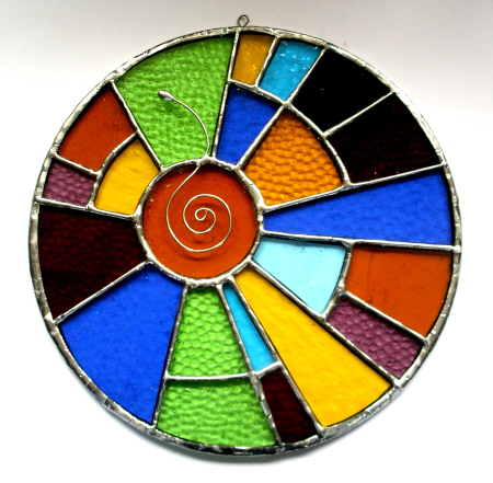 Stained Glass - Rainbow coloured Circle hanging for Window or wall