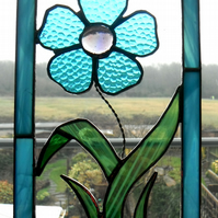 Stained Glass - delicate single flower hanging panel