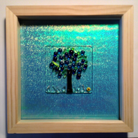 Box framed fused stained glass panel