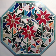 Octagonal Stained glass mosaic panel