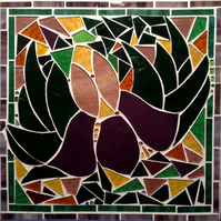 Stained Glass Mosaic Iris panel