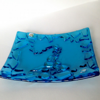 Decorative fused glass dish - stained glass - for display or for sweets etc.