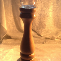 Oak Wood candlestick with glass Tea light holder