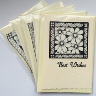 Set of 5 Greetings cards in Black and White