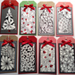 Eight Christmas tags - hand drawn originals