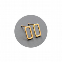 Rectangle Stud Earrings Gold Vermeil Plated Handmade Earrings