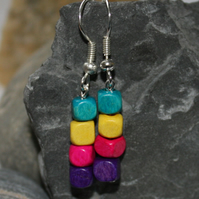 Multi-coloured wooden cube drop earrings - purple, pink, yellow and teal