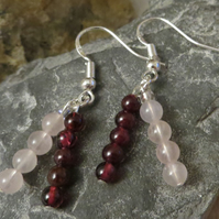 Garnet & Rose Quartz gemstone double drop & sterling silver earrings