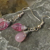 Pink glass double drop wire wrapped earrings