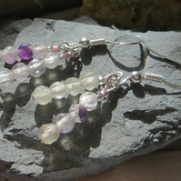 Rainbow fluorite gemstone and sterling silver double drop earrings