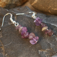 Amethyst gemstone chip and sterling silver drop earrings - February birthstone
