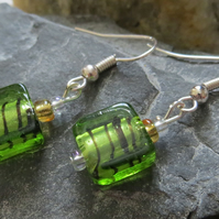 Green and black foil glass beaded earrings