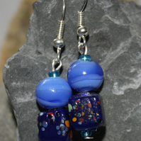 Blue swirl and dotty cube beaded drop earrings