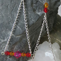 Triangle glass and chain 'trapeze' drop earrings pink red orange silver plated