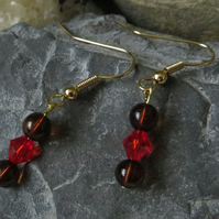 Red and brown beaded earrings