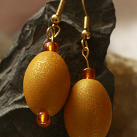 Yellow, gold and orange chunky earrings