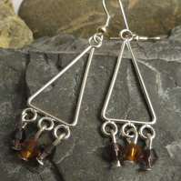 Purple and orange beaded triangle chandelier earrings