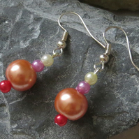 Multi-coloured 'pearl' earrings - pink peach red white