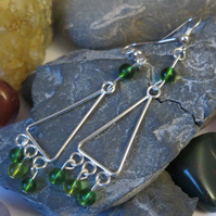 Green glass beaded triangle chandelier earrings
