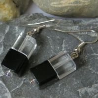 Black and white glass cube earrings