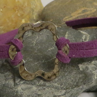 Flower and purple bracelet - faux suede cord