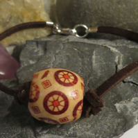 Wooden bead and faux suede bracelet