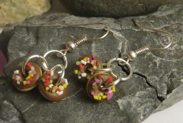Chocolate doughnut earrings - cute and sweet