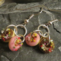 Chocolate and strawberry doughnut earrings - pink, brown and multi coloured