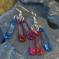Safety pin earrings - purple, red and blue metal pins punk and cool