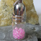 Glass bottle pendant - pink beads